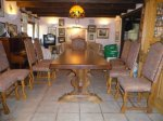 Dordogne furniture for sale. Beautiful solid wood refectory style dining room table in excellent condition. Seats 10 to 14 with extensions